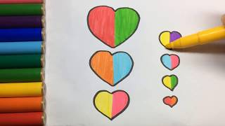 How to draw and color the heart, Heart Coloring Page, Learn Colors