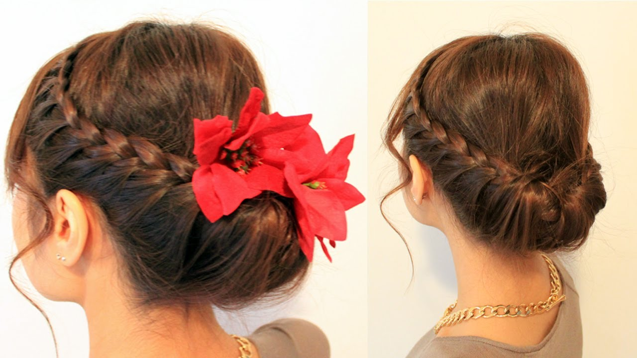 Hairstyle Video On Youtube : Holiday Braided Updo Hairstyle for Medium Long Hair Tutorial - YouTube