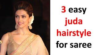 3 easy juda hairṡtyle for saree | gajra hairstyle | chignon bun | hairstyle for wedding | hairstyle