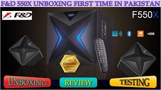 F&D F550X Bluetooth Review Urdu - Hindi NFC 2.1 Woofer Speaker Unboxing English CC