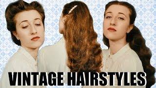 3 Vintage Hairstyles For LONG HAIR Tutorial