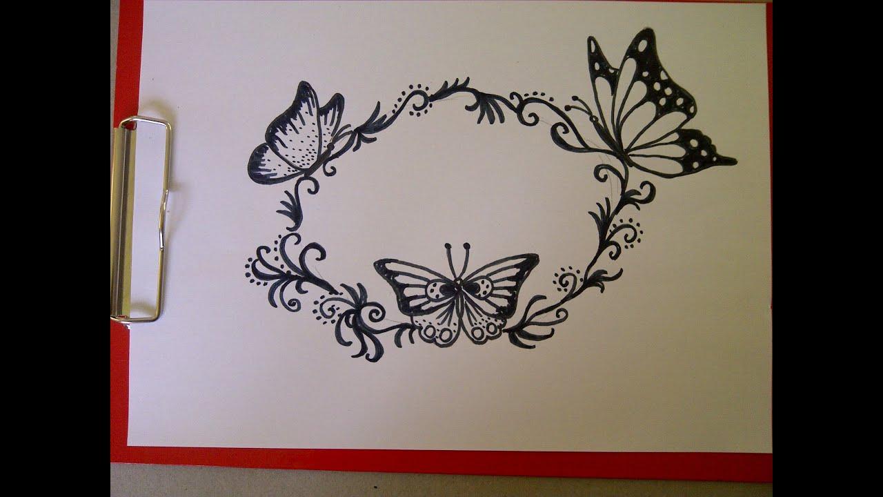 Einen Schmetterling Zeichnen Schöne Verzierungenmuster Für Eine