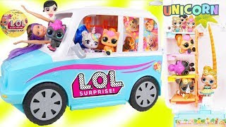 Custom LOL Surprise Dolls Play at Barbie Puppy Mobile with Unicorn ...
