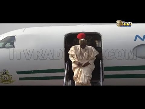 President Buhari received by Gov. Obaseki at the Benin Airport