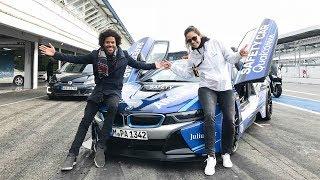 Tesla Model S Fahrer Probiert Jaguar I-Pace + BMW i8 + Spaßmobile Auf Hockenheimring