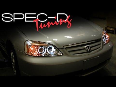 SPECDTUNING INSTALLATION VIDEO: 2001-2003 HONDA CIVIC HEAD LIGHTS / PROJECTOR HEAD LIGHTS