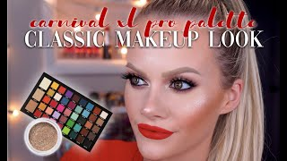CLASSIC MAKEUP W/ A RED LIP | CARNIVAL XL PRO PALETTE TUTORIAL