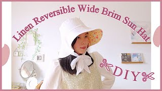 Refashion DIY Reversible Linen Wide Brim Sun Hat // Bucket Hat 服 👒 リメイク Sewing Tutorialㅣmadebyaya