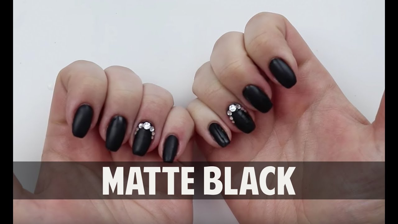 MATTE BLACK WITH SWAROVSKI CRYSTALS - Hard Gel Nail Tutorial - YouTube