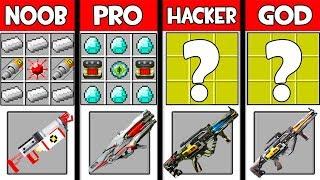 Minecraft Battle: SUPER GUN NOD CRAFTING CHALLENGE - NOOB vs PRO vs HACKER vs GOD - Animation