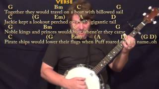 Puff the Magic Dragon - Banjo Cover Lesson with Chords/Lyrics - Capo 2nd