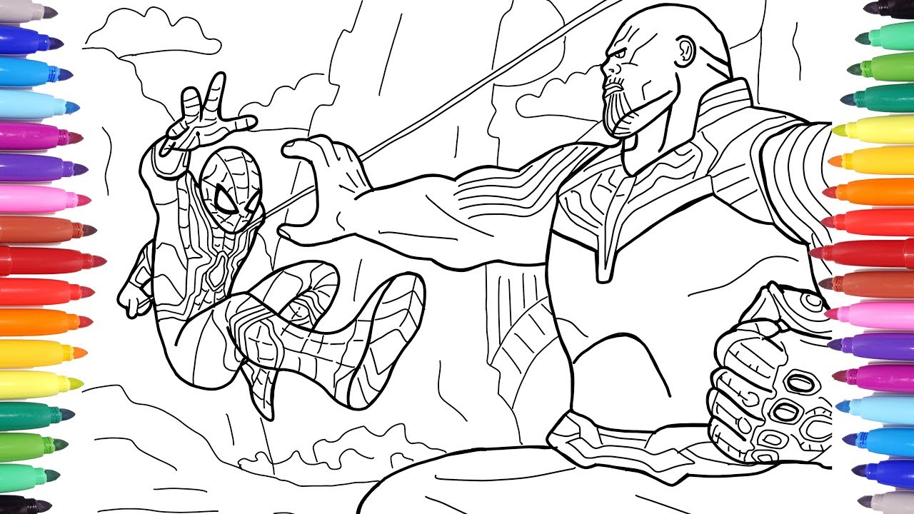 Spiderman Vs Thanos Avengers Infinity War Scene Coloring Pages