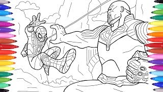 Spiderman vs Thanos, Avengers Infinity War Scene, Avengers Coloring Pages, Spiderman Coloring Pages