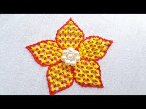 Hand Embroidery# Fantasy Flower Stitch# Checkered Stitch By Stitch BD Network