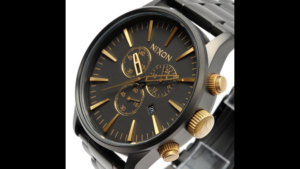 nixon watch a386 1041 sentry chrono matte black gold review mens nixon watch a386 1041 sentry chrono matte black gold review mens a3861041 ニクソン ゠ントリークロノ マット ブラック