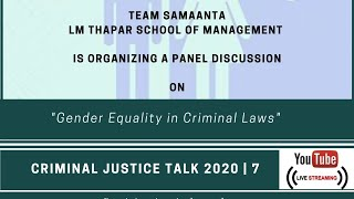 Panel Discussion : Gender Equality in Criminal Laws | CRCJ Talks| 7|