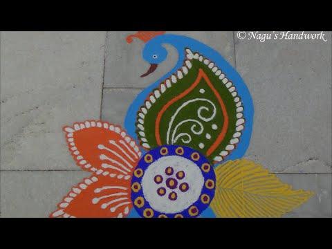 ... Kolam Designs simple peacock rangoli design - peacock rangoli design