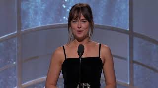 Dakota Johnson presenting 'Call Me By Your Name' at the Golden Globes