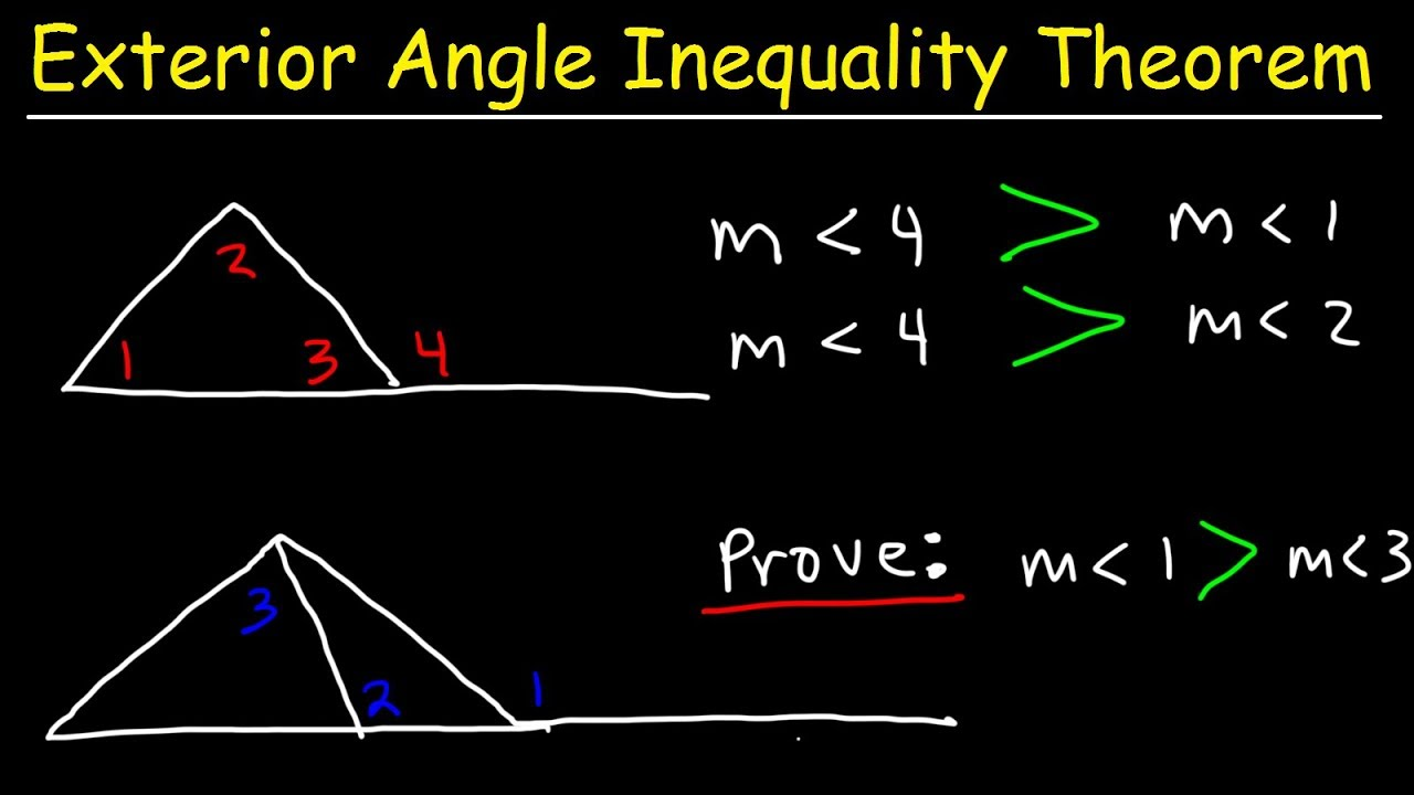 Exterior angle inequality theorem with two column proofs - Exterior angle inequality theorem ...