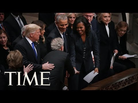 George W. Bush Slips Michelle Obama During His Father George H.W. Bushs Funeral | TIME