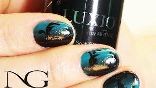 Градиент омбре c вензелями барокко на коротких ногтях / Ombre gradient on short nails