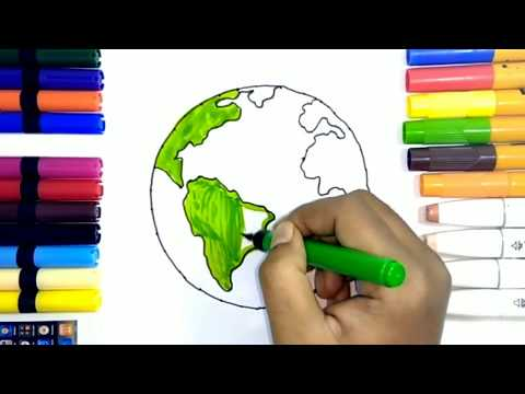 Learn How To Draw Earth And Stars   Teach Drawing For Kids And Toddlers Coloring Page Vide