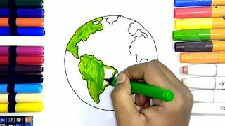 Learn How to Draw Earth and Stars | Teach Drawing for Kids and Toddlers Coloring Page Vide