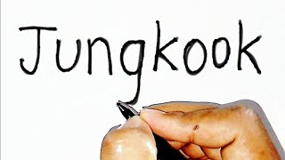 How to Turn word JUNGKOOK into BTS Jungkook drawing