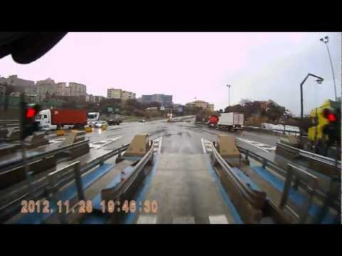 Trucking to the port of Genoa, Italy. Dash-cam video,