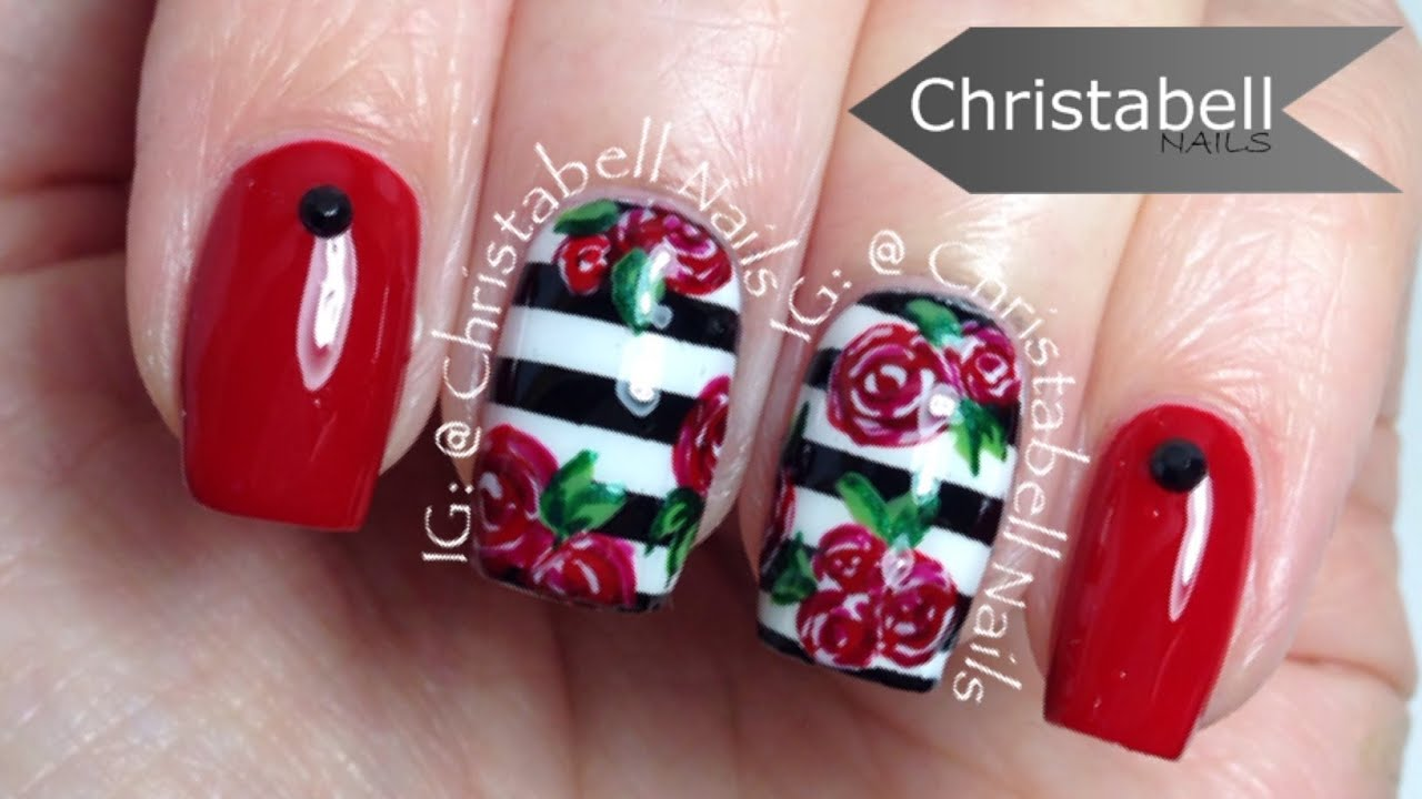 ChristabellNails Stripes and Flowers Nail Art Tutorial - YouTube
