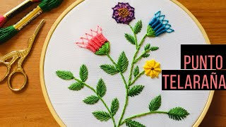 Bordar flores punto de telaraña  STITCH SPIDER WEB