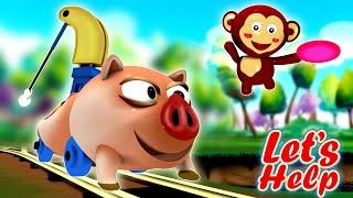 Let's Help: Toy Factory Cartoon Train | Piggy Toy Train Choo Choo Cartoon for Kids