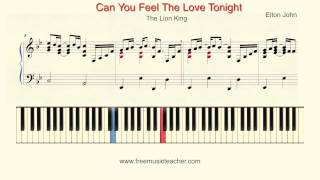 "How To Play Piano: Elton John The Lion King ""Can You Feel The Love Tonight"" Piano Tutorial"