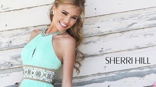 Sherri Hill 11251 Prom Dress Halter Neck Pleated Skirt Keyhole Bodice