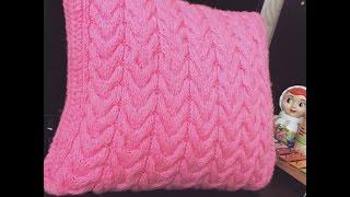 Диванная подушка с косами(В этом видео я показываю как вязать чехол на диванную подушку с простым узором косы. Процесс совсем не слож..., 2017-01-28T12:09:20.000Z)
