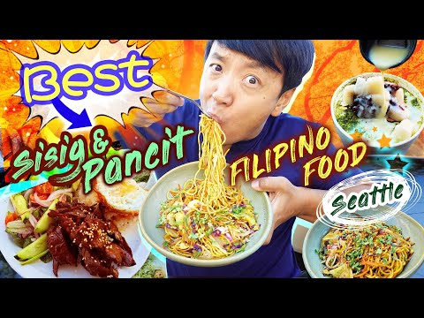 BEST Sisig & Pancit! TRYING FILIPINO FOOD in Seattle