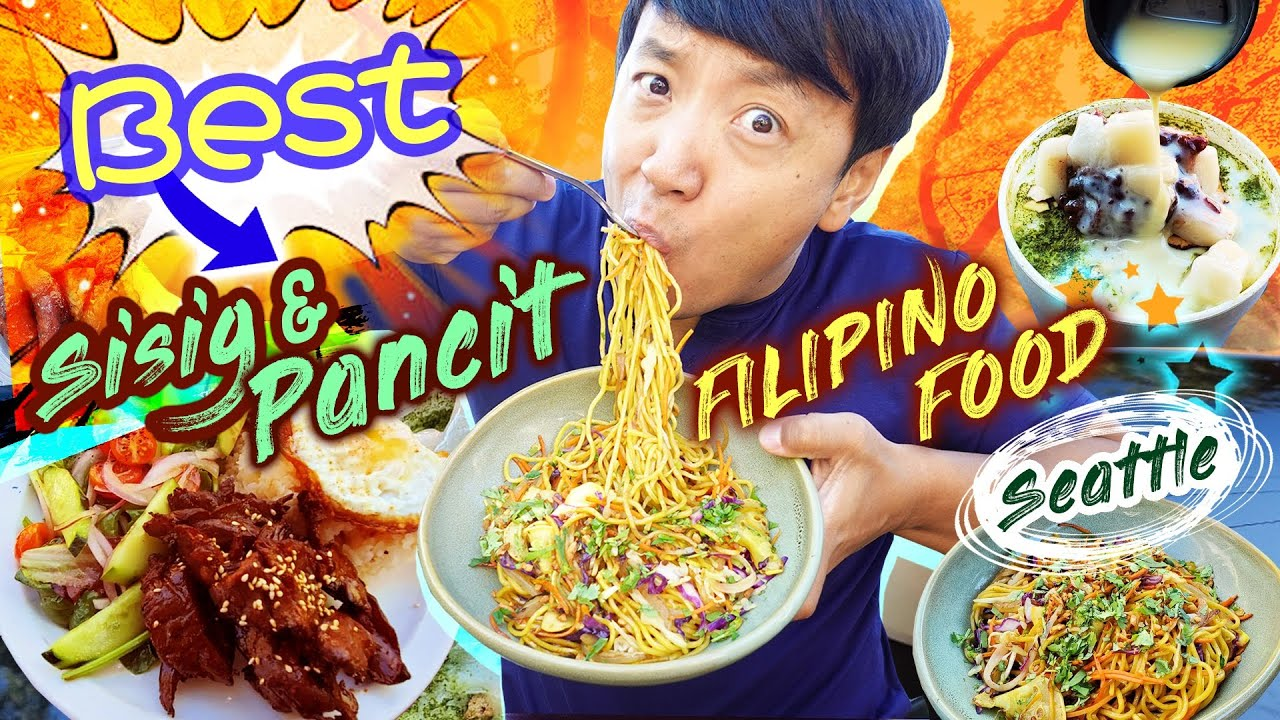 BEST Sisig & Pancit! TRYING FILIPINO FOOD in Seattle