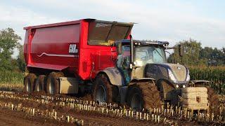 Harvesting mais in the mud | John Deere + Fendt + New Holland | Modderen | J. de Heus.