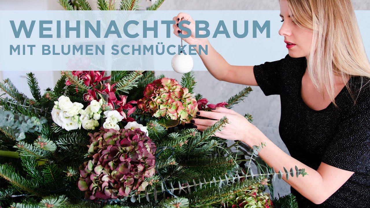 Dekoration Weihnachtsbaum.Weihnachtsbaum Mit Blumen Schmücken Moderne Christbaum Dekoration Udpp