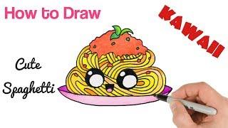 How to Draw Spaghetti Pasta Cute Kawaii Food Drawing