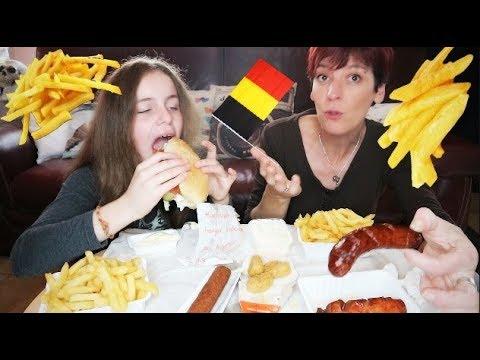 Mukbang Belge ! Frites, fricadelle et sauce fromage 😋🇧🇪