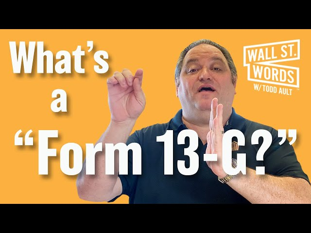 Wall Street Words word of the day = Form 13-G