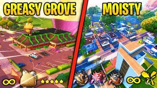 "I DISCOVER THE 2 NEW CITY ""MOISTY PALMS and GREASY GROVE"" ON FORTNITE (New Skins)"
