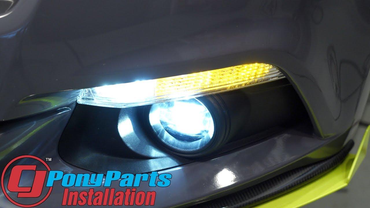 2015 2017 mustang v6 ecoboost gt shelby performance parts fog light marker light led installation [ 1280 x 720 Pixel ]