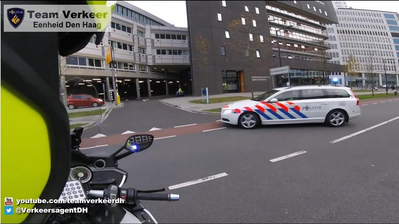 دراجات الشرطة تفتح الطريق إلى سيارت إسعاف في هولندا #2