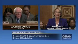 "U.S. Senator Bernie Sanders asks Education Secretary Nominee Betsy DeVos: ""Do think if you were not a multimillionaire, if you're family has not made ..."