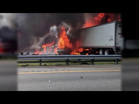 FHP: 7 dead after fiery crash, fuel spill on I-75 north of Gainesville