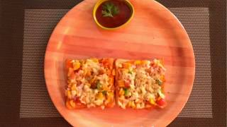 Bread Pizza on Tawa / Quick and easy to make Bread Pizza