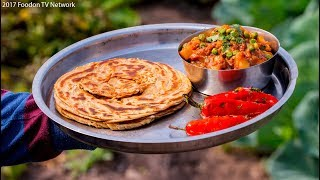 Aloo matar, lachha paratha and Smoky chillies | Indian village cooking