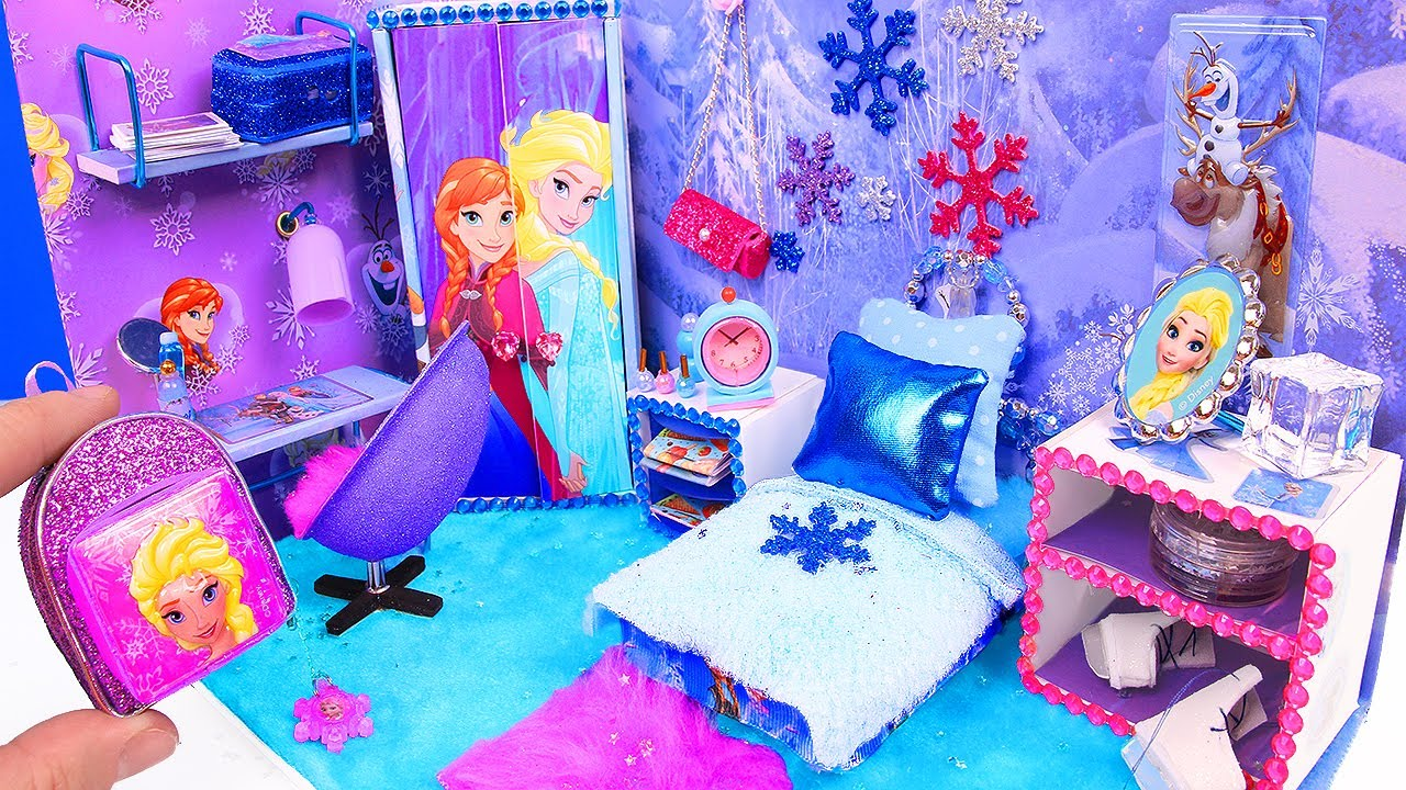 4b85e690352 DIY Miniature Doll Bedroom for Disney Frozen Elsa - YouTube